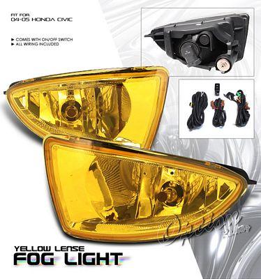 Honda Civic 2004-2005 Yellow Fog Lights Kit