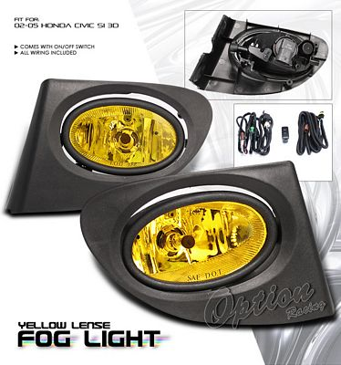 Honda Civic Si 2002-2005 Yellow JDM Style Fog Lights Kit