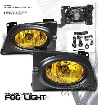 Honda Civic Sedan 2006-2008 Yellow Fog Lights Kit