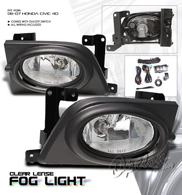 Honda Civic Sedan 2006-2008 Clear Fog Lights Kit