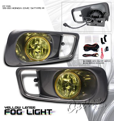 Honda Civic Si 1999-2000 Yellow JDM Style Fog Lights Kit