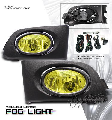 Honda Civic 2001-2003 Yellow JDM Style Fog Lights Kit