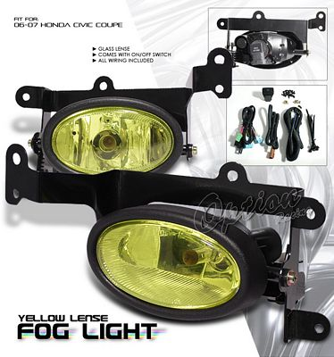 Honda Civic Coupe 2006 2008 Yellow Fog Lights Kit