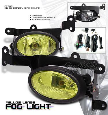 Honda Civic Coupe 2006-2008 Yellow Fog Lights Kit