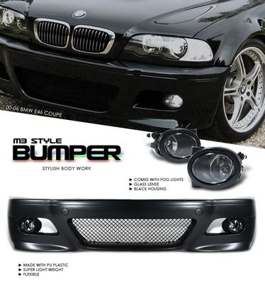 BMW E46 Coupe 3 Series 2000-2006 M3 Style Front Bumper with Fog Lights