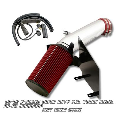 Ford Excursion 2000-2002 Polished Truck Air Intake System with Heat Shield