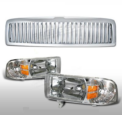 Dodge Ram 1994-2001 Chrome Vertical Grille and Euro Headlights Set