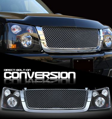 Chevy Silverado 2003-2005 Chrome Mesh Grille and Black Headlight Conversion Kit