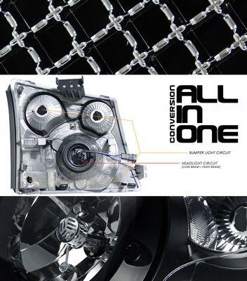 Chevy Silverado 2003-2005 Chrome Mesh Grille and Black Headlight Conversion Kit