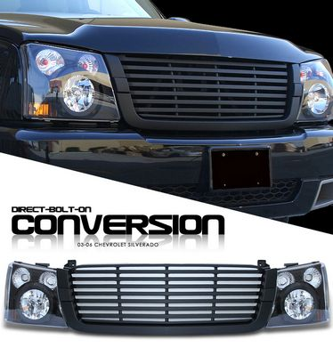 Chevy Silverado 2003 2005 Black Billet Grille And