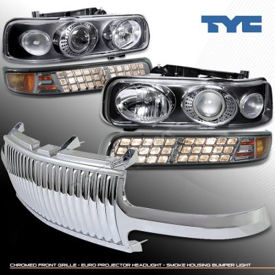 chevy silverado 1999 2002 chrome vertical grille and tyc black projector headlights set