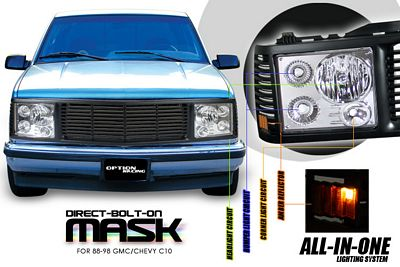 Chevy 1500 Pickup 1994-1998 Black Billet Grille and Clear Headlight Conversion Kit