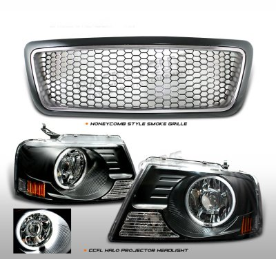 lincoln mark lt 2006 2008 smoked grille and ccfl halo projector headlights a101621m184. Black Bedroom Furniture Sets. Home Design Ideas