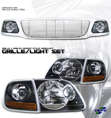 Ford Expedition 1999 2002 Chrome Billet Grille And Depo Black Headlights Set A1010wjk184 Topgearautosport