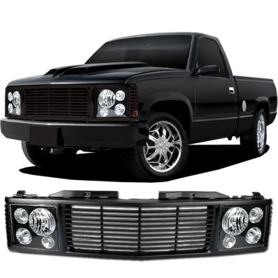 GMC Yukon 1994-1999 Black Billet Grille and Headlight Conversion Kit