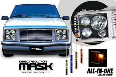 GMC Suburban 1994-1999 Chrome Billet Grille and Black Headlight Conversion Kit