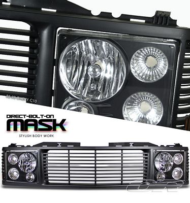 Chevy Tahoe 1995-1999 Black Billet Grille and Headlight Conversion Kit
