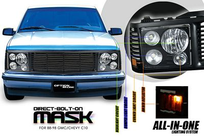 Chevy 1500 Pickup 1994-1998 Black Billet Grille and Headlight Conversion Kit