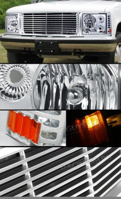 Chevy Suburban 1994-1999 Chrome Billet Grille and Headlight Conversion Kit