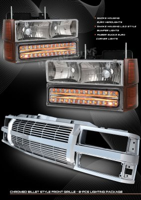 Chevy 1500 Pickup 1994-1998 Chrome Billet Grille and Smoked Headlights with Bumper Lights