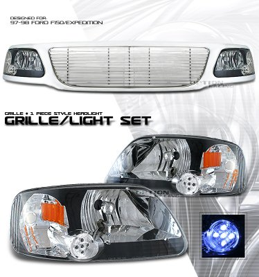 Ford Expedition 1997 1998 Chrome Billet Style Grille And Black Euro Headlights Set A1016rl8184 Topgearautosport