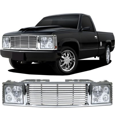 chevy tahoe 1995 1999 chrome billet grille and headlight. Black Bedroom Furniture Sets. Home Design Ideas