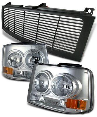 Chevy Suburban 2000-2006 Black Billet Grille and Chrome Headlight Conversion Kit