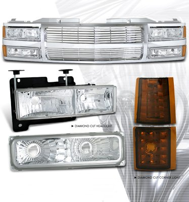 1999 Chevy Tahoe Chrome Billet Grille and Headlights