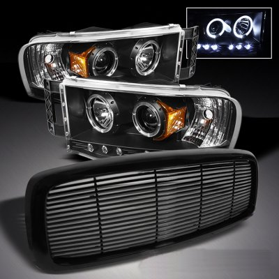 Dodge Ram 2002-2005 Black Billet Grille and Projector Headlights