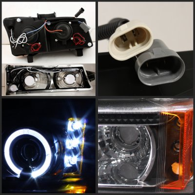 Chevy Silverado 2003-2005 Black Grille and Projector Headlights Bumper Lights