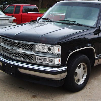 chevy tahoe 1995 1999 chrome mesh grille and projector. Black Bedroom Furniture Sets. Home Design Ideas
