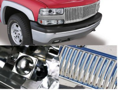 Chevy Silverado 1999-2002 Chrome Vertical Grille and Halo Projector Headlights Set
