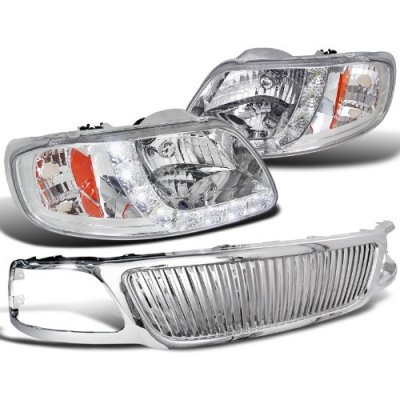 Ford F150 1999-2003 Chrome Vertical Grille and Headlights LED DRL