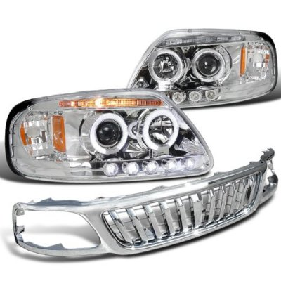 Ford F150 1999-2003 Chrome Bar Grille and Projector Headlights