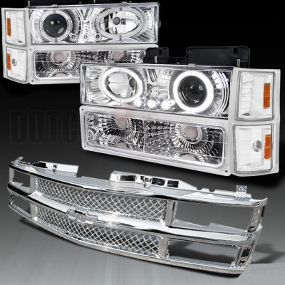 Chevy Blazer Full Size 1994 Chrome Mesh Grille And Projector Headlights