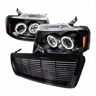 Ford F Black Billet Grille And Projector Headlights - 2008 f150