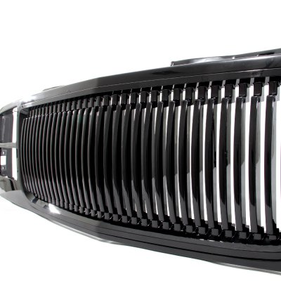 Chevy 1500 Pickup 1994-1998 Black Front Grill and Headlights Set