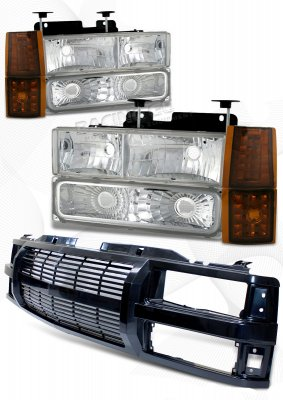 GMC Suburban 1994-1999 Black Billet Grille and Clear Euro Headlights