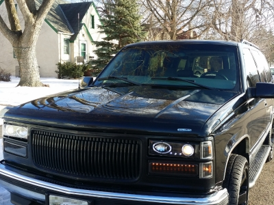 Chevy Tahoe 1995 1999 Black Grill And Halo Projector Headlights Led Per Lights Customer Photo