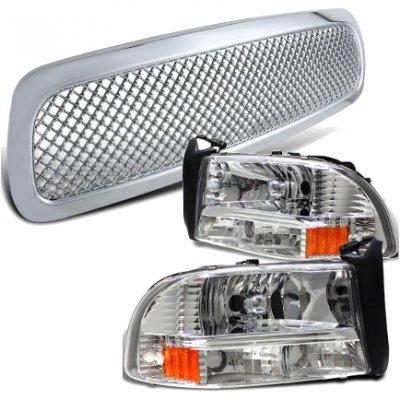 Dodge Dakota 1997-2004 Chrome Mesh Grille and Headlights Set