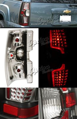 Chevy Tahoe 2007-2008 Black LED Style Tail Lights