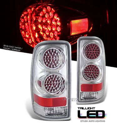 GMC Yukon Denali 2001-2006 Chrome LED Style Tail Lights