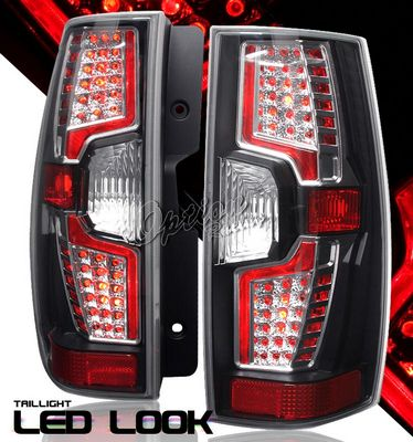 Chevy Suburban 2007-2010 Black LED Style Tail Lights