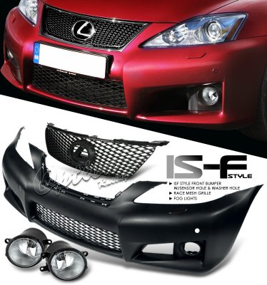 Lexus IS250 2006-2008 Black IS-F Style Bumper and Grille with Fog Lights