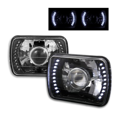 Jeep Wrangler 1987-1995 LED Black Sealed Beam Projector Headlight Conversion