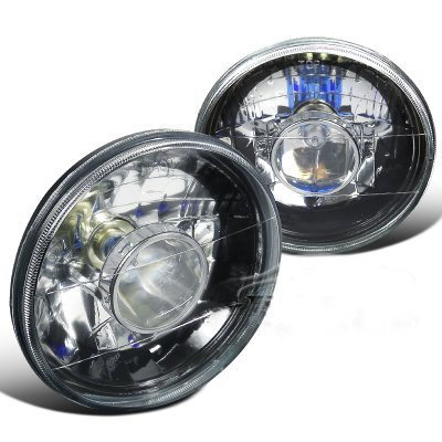 Chevy C10 Pickup 1967-1979 Black Crystal Sealed Beam Projector Headlight Conversion