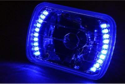 1985 Dodge Aries 7 Inch Blue LED Sealed Beam Headlight Conversion