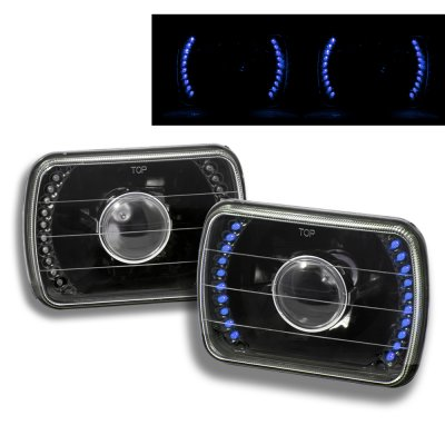 Chevy Tahoe 1995-1999 Blue LED Black Sealed Beam Projector Headlight Conversion