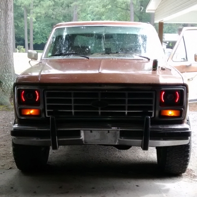 Ford Bronco 1979 1986 Red Led Black Sealed Beam Projector