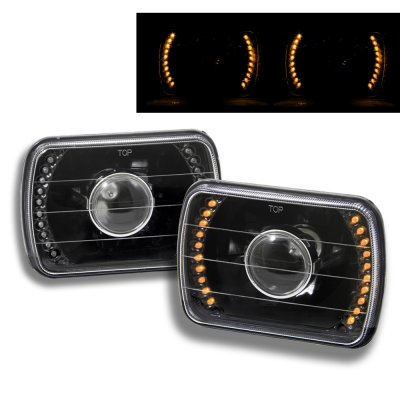 Ford Bronco 1979-1986 Amber LED Black Sealed Beam Projector Headlight Conversion